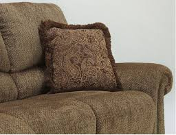Chenille Reclining Sofa by Macnair Traditional Umber Tone Thick Chenille Fabric Upholstered