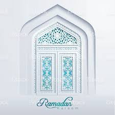 ramadan kareem white mosque door geometric pattern stock vector