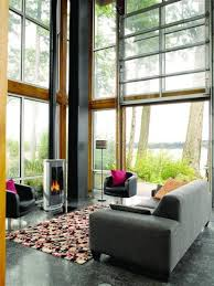 modern country living room with contemporary fireplace design for