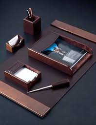 Brown Leather Desk Accessories Wooden Desk Sets Custom Leather Desk Sets Desk Accessory Sets