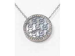 Monogram Necklaces Silver Michael Kors Monogram Pendant Necklace 16