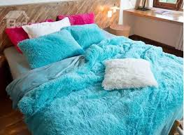 full size bright blue princess style 4 piece fluffy bedding sets