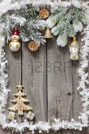 tree baubles background on vintage wooden boards stock