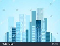 Urban Modern Design by Urban Modern City Blue Panorama Vector Stock Vector 454754785