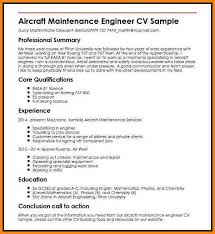 A P Mechanic Resume Aircraft Maintenance Engineer Cv Sample Maintenance Engineer