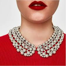 chunky pearl bib necklace images 3 colors new trending statement jewelry simulated pearl choker jpg