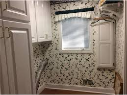 Laundry Room Border - how we removed wallpaper in 8 rooms in our new house