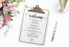 wedding itinerary wedding printable wedding favor