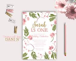 shabby chic floral birthday invitation summer party first