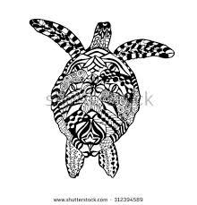 zentangle stylized turtle animals hand drawn stock vector