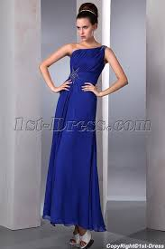 popular high slit royal blue ankle length chiffon prom dress 1st