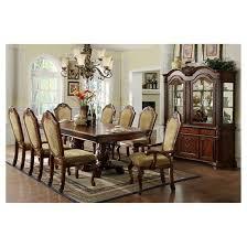 Cherry Wood Dining Room Set Sun U0026 Pine 7pc 2 Pedestal Elegant Carved Design Dining Table Set