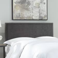 king upholstered headboard with nailhead trim fashion bed group zurich pewter upholstered headboard with
