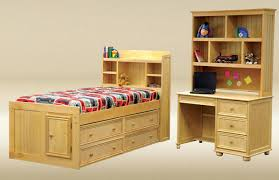Captain Bed With Desk Kimson Natural Twin Size Bookcase Captain U0027s Bed