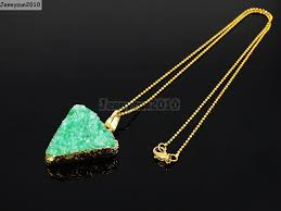 bead necklace charms images Natural druzy quartz agate triangle pendant gold edge charm beads jpg