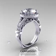Diamond Sapphire Wedding Ring by Caravaggio Italian 14k White Gold 3 0 Ct White Sapphire Diamond