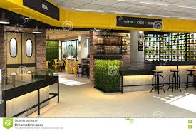 3d visualization of food store with a cafe and bar inside the