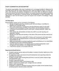 sample event coordinator resume 7 documents in pdf