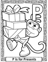 dora cartoon present free alphabet coloring pages alphabet