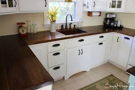 blue kitchen cabinets with wood countertops charming and wooden kitchen countertops