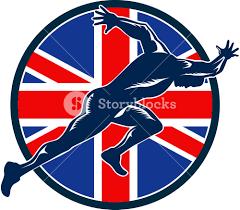 Beitish Flag Runner Sprinter Start British Flag Circle Royalty Free Stock Image