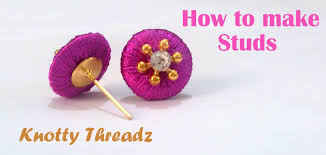 make stud earrings how to make silk thread studs for jhumkas at home tutorial