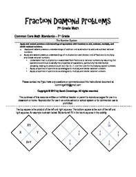 fraction diamond problems by buckeyemath teachers pay teachers