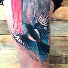 magpie watercolor bird tattoo venice tattoo art designs