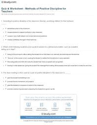 quiz u0026 worksheet methods of positive discipline for teachers