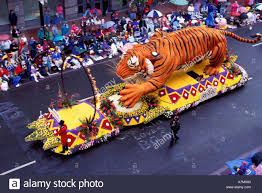 tiger float in portland oregon festival parade stock photo