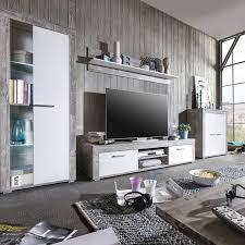 Wohnzimmerschrank T En Wohnwand Mit Led Beton Weiß Wohnzimmer Anbauwand Mediawand