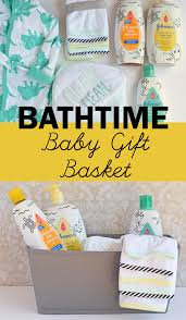 bath time baby gift basket idea for a baby shower and new baby