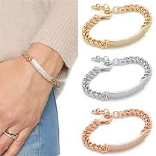 make silver bracelet cuff images Women men rhinestone alloy bracelet cuff bangle rose gold silver jpg