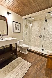 Bathroom Neutral Colors - acacia wood flooring bathroom contemporary with wall art nickel