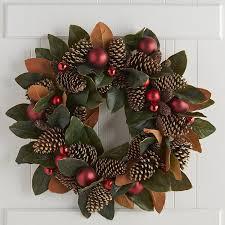 oversized faux magnolia pinecone wreath pier 1 imports