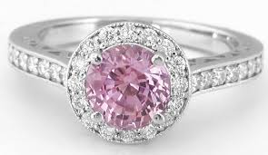 pink sapphires rings images Light pink sapphire ring round sapphire and diamond halo ring in jpg