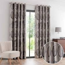 Pewter Curtains Franklin Pewter Jacquard Eyelet Curtains Dunelm