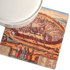 barbara shaw ancient map of the old city of jerusalem trivet