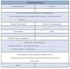payroll direct deposit form direct deposit authorization