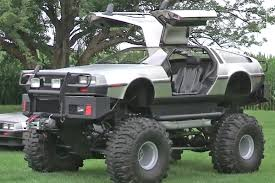 funny monster truck videos video man builds delorean monster truck doesn u0027t stop there off