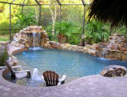 Pool Ideas For A Small Backyard Pool Design With Rock Waterfalls And White Adirondack