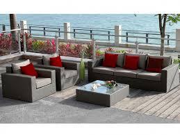 fauteuils rouges salon de jardin grande en résine tressée canapé 3 places 2