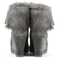 Grey Wedge Ankle Boots Daniel Grateful Grey Suede Fur Cuff Wedge Ankle Boot