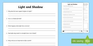light and shadows lesson plans light and shadows questions worksheet light and shadow light