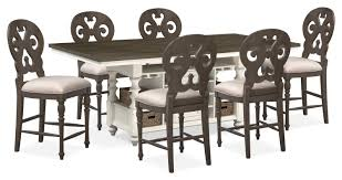 Gray Dining Room Table Charleston Counter Height Dining Table And 6 Scroll Back Stools