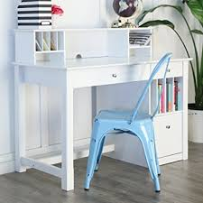 white wood computer desk amazon com we furniture white wood deluxe storage computer desk