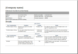 retirement checklist template for ms excel excel templates