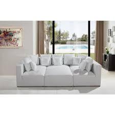Modular Leather Sectional Sofa Mason206 Modular White Leather Sectional Sofa Furniture Store
