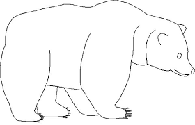 brown bear outline coloring pages place color