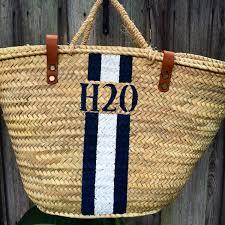 monogrammed baskets blue stripes personalized market basket custom monogrammed